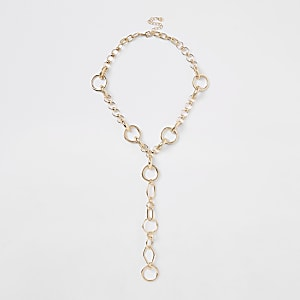 Gold colour circle chunky chain necklace