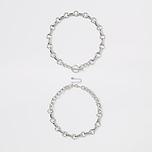Silver color chain link T bar necklace
