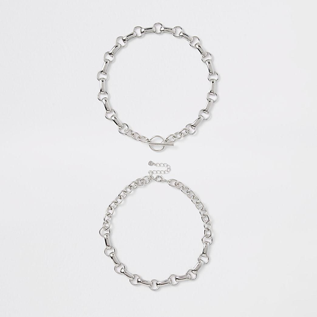 Silver colour chain link T bar necklace