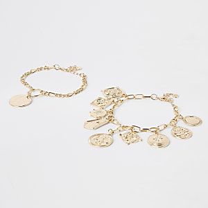 Gold colour charm bracelet pack