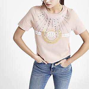 Roze verfraaid T-shirt met RI-logo en siersteentjes