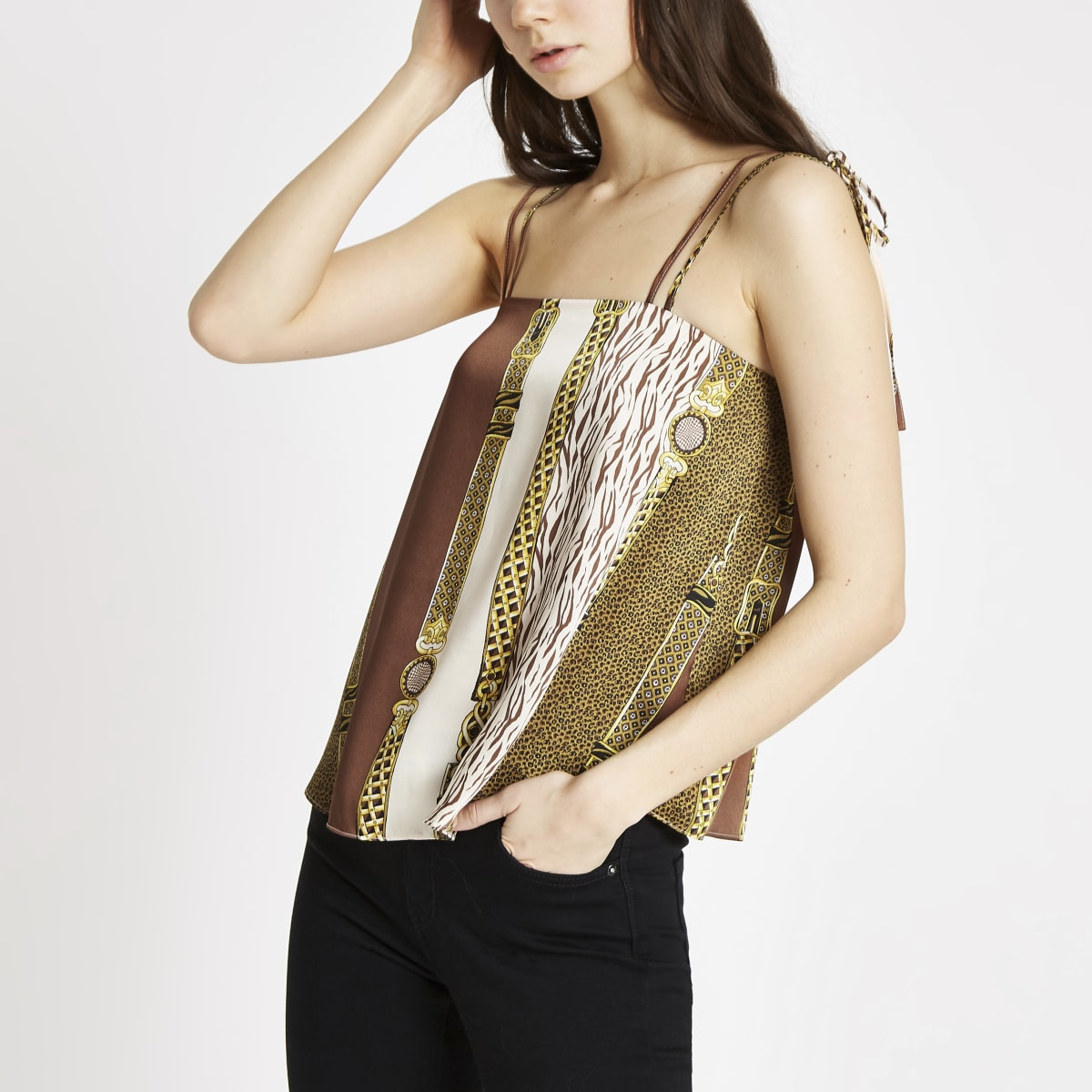 Brown chain print tie shoulder cami top