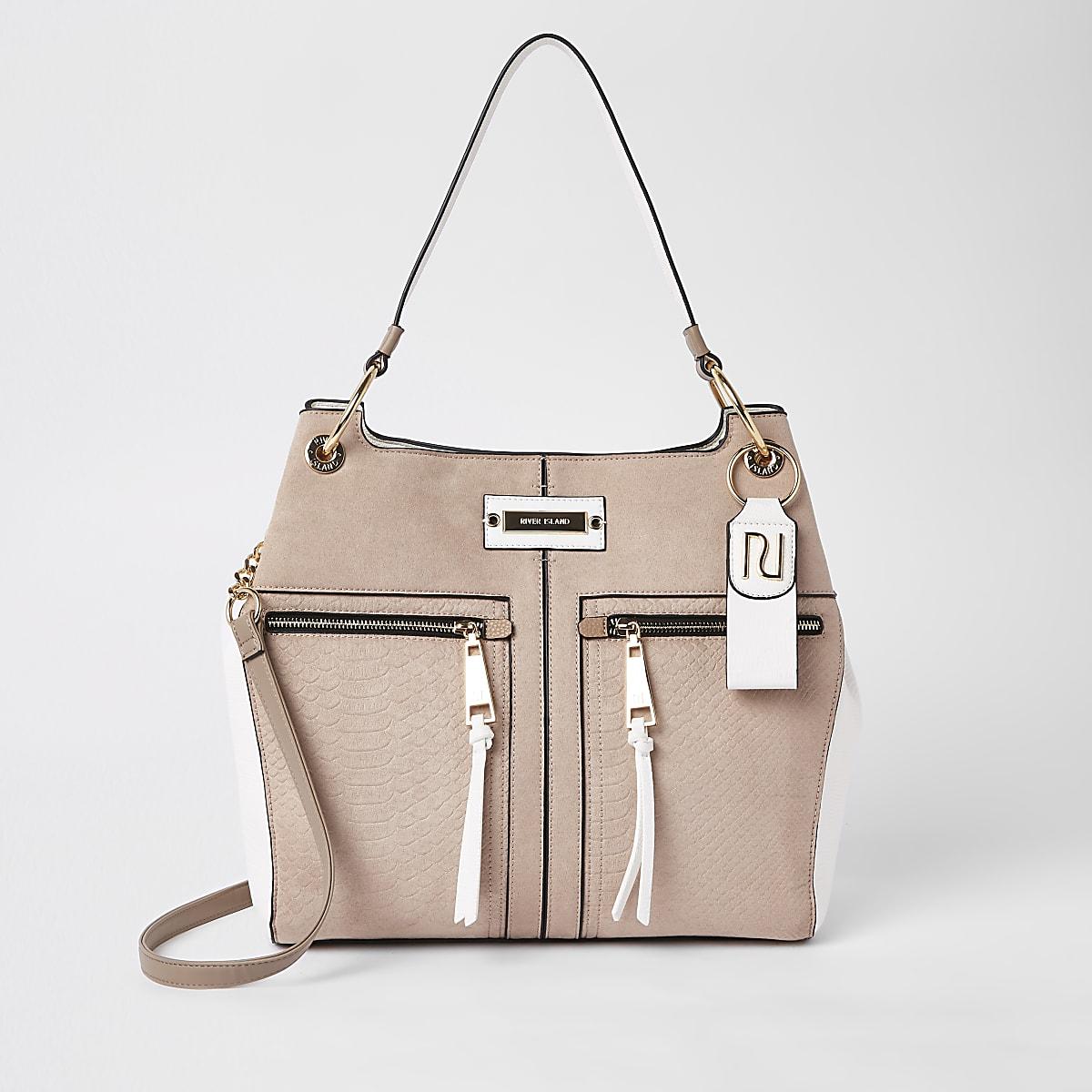 Beige zip front slouch bag