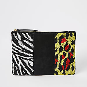 Black leather animal beaded pouch clutch bag