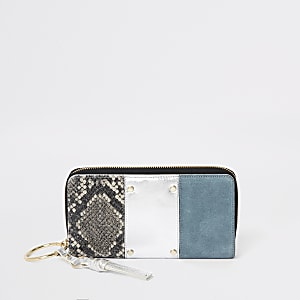 Grey leather snake print zip around purse