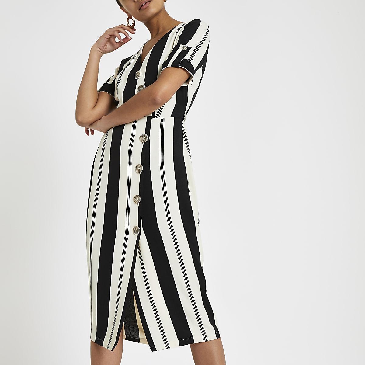 Black stripe print button front midi dress