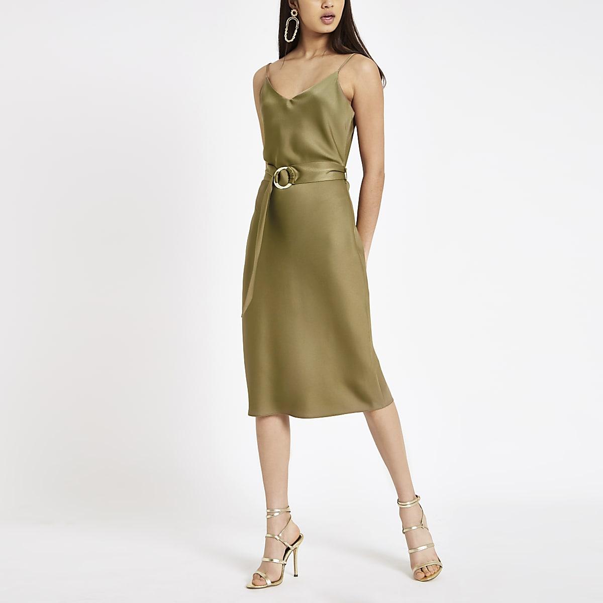 Khaki belted waist slip dress