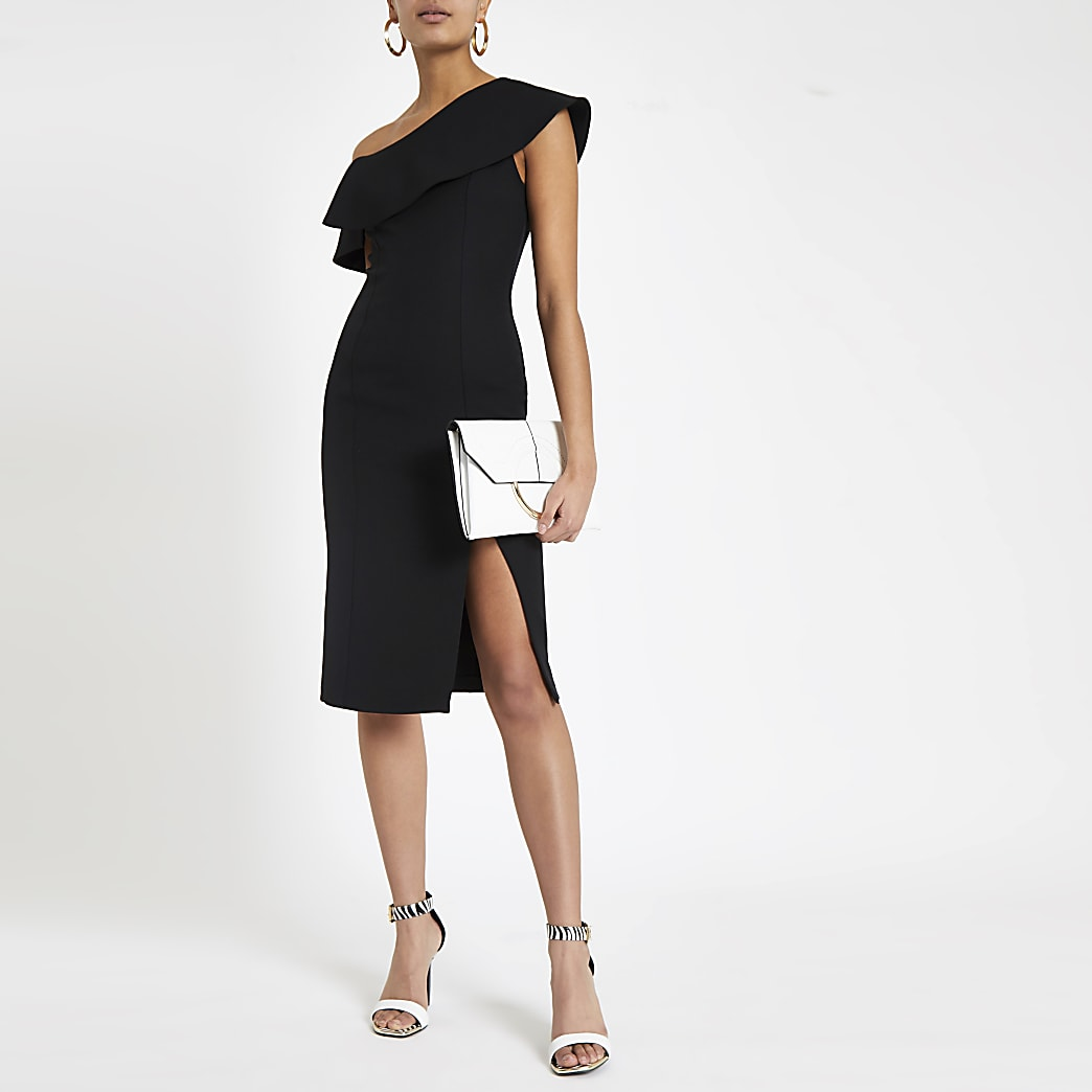 Black bodycon cape midi dress