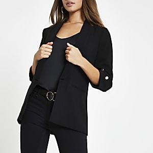 Blazer noir à manches longues et boutons