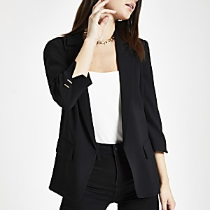 Black split long sleeve blazer