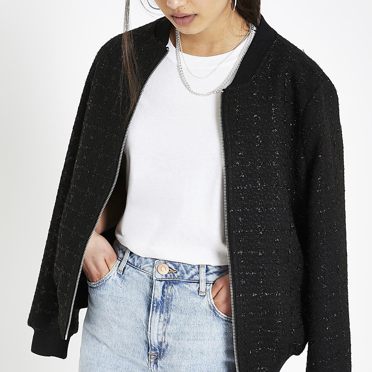 Black boucle bomber jacket