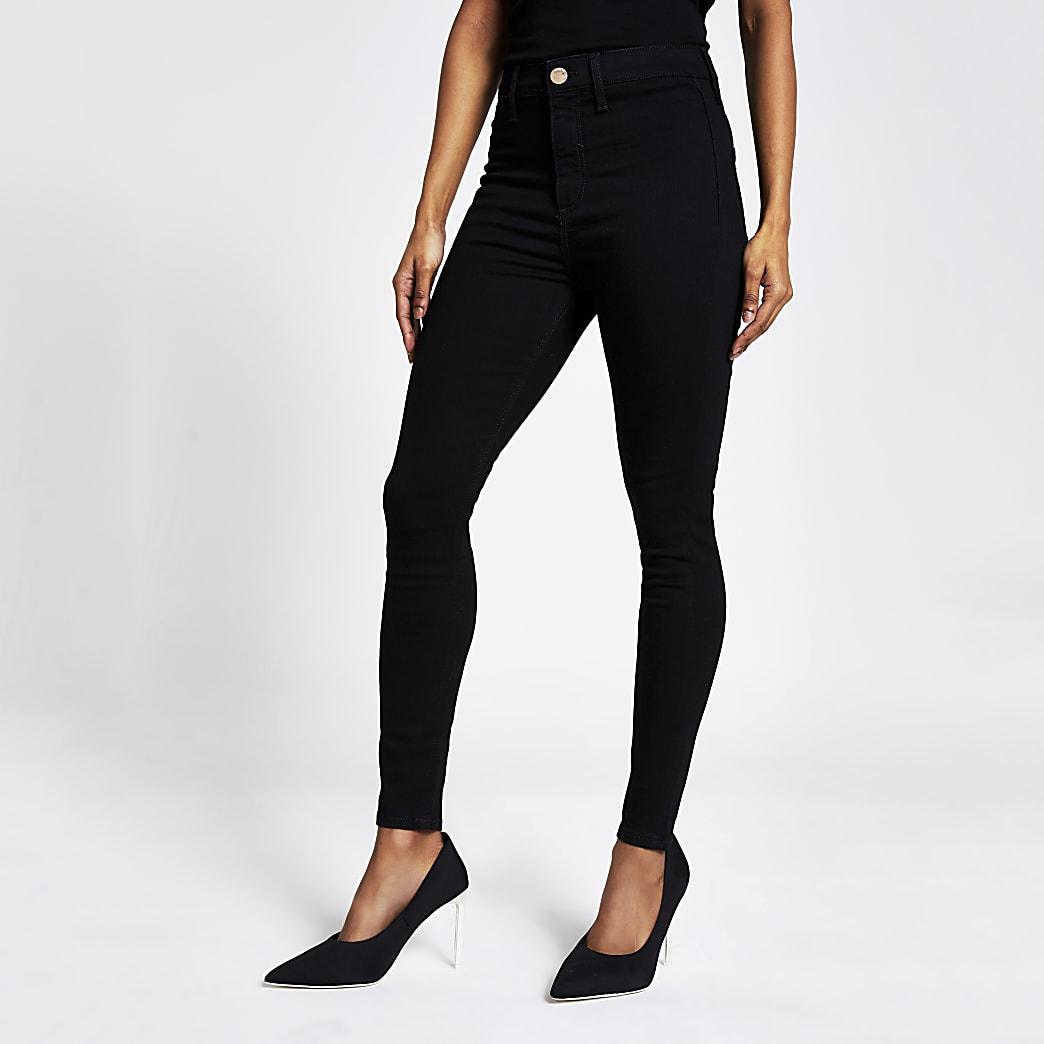 Petite black Kaia high rise disco jeans