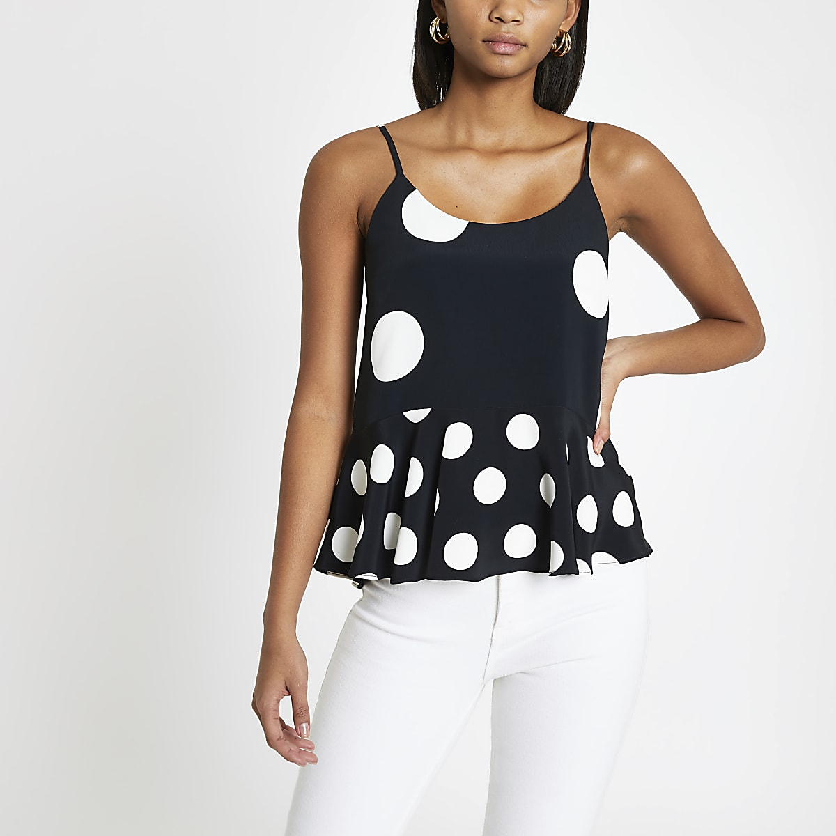 Black spot peplum cami top