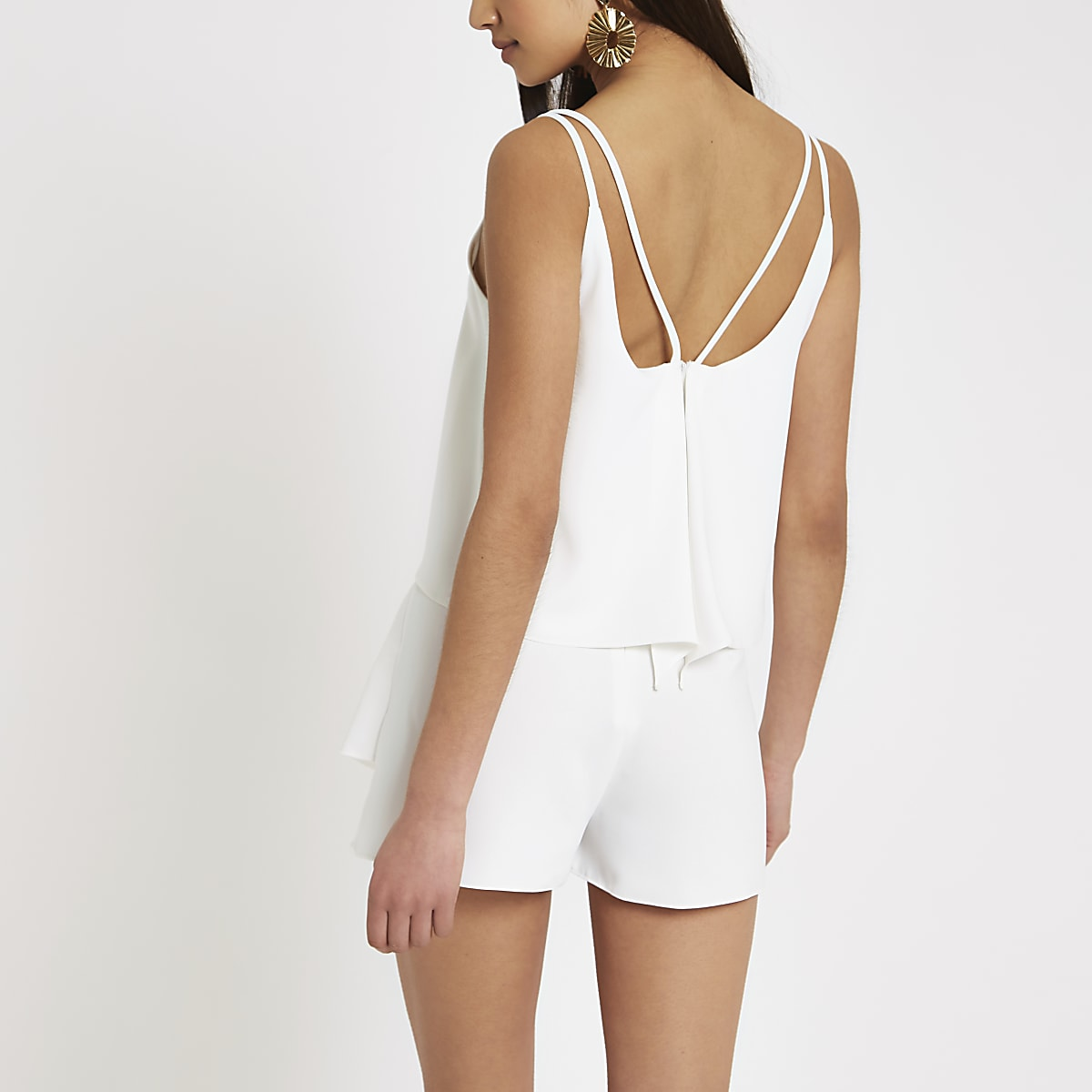 a58bce57942d White frill tiered cami playsuit - Playsuits - Playsuits   Jumpsuits ...