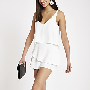 White frill tiered cami playsuit