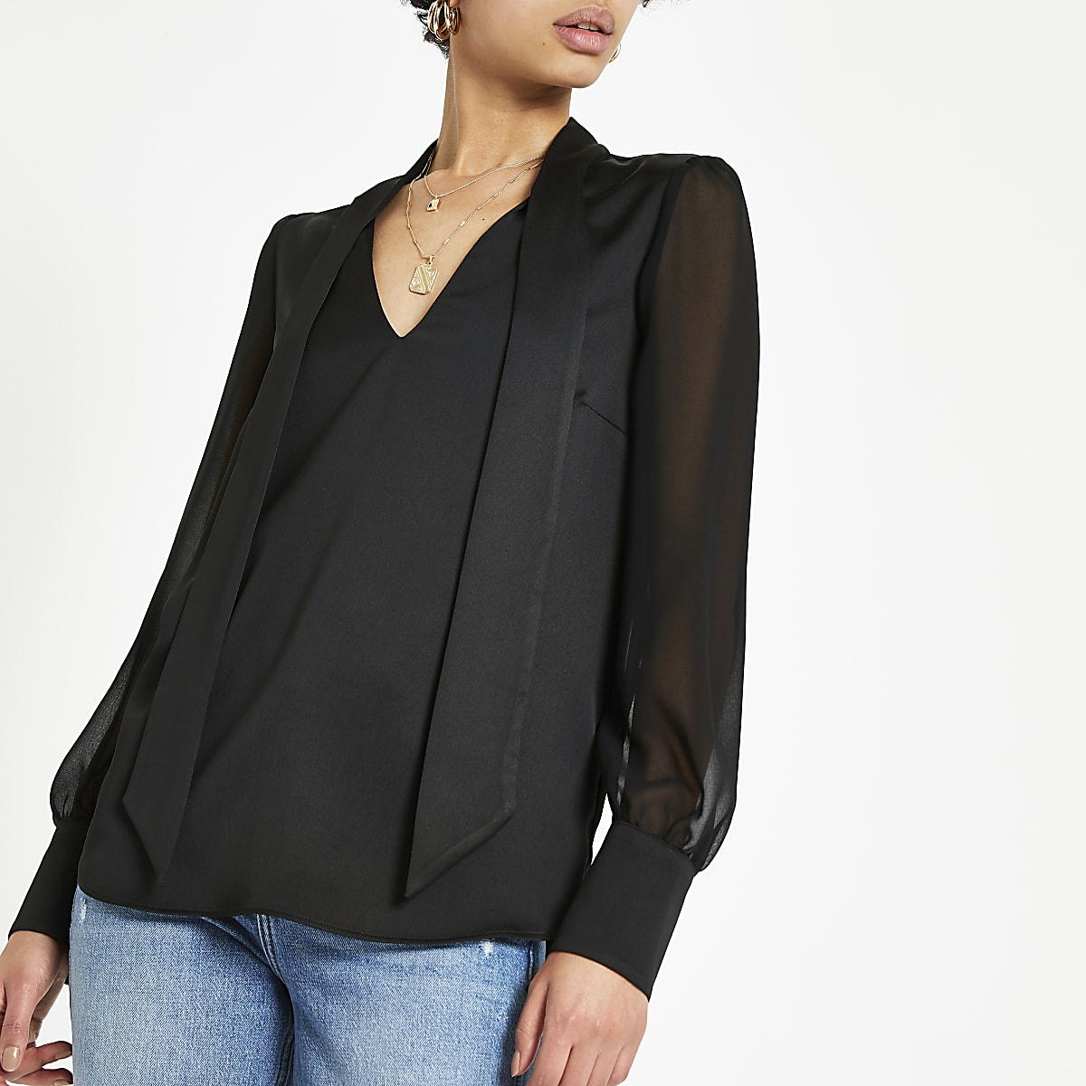 Black satin tie neck blouse