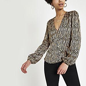 Bruine top met zebraprint en lange mouwen