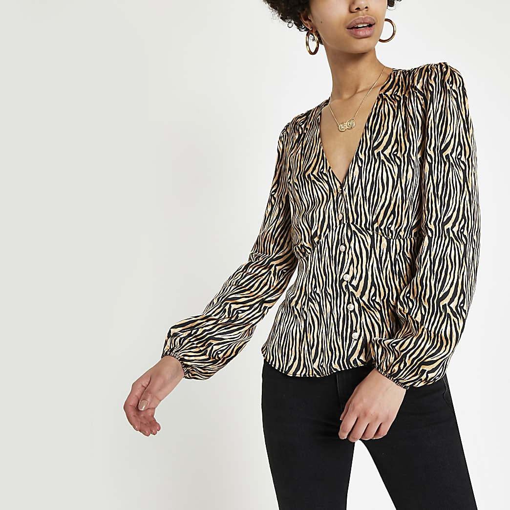 Brown zebra print long sleeve tea top