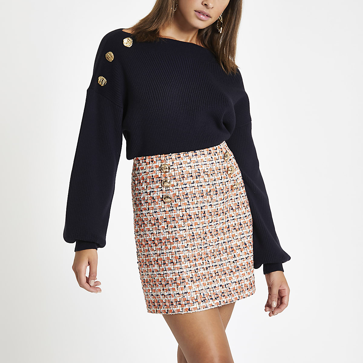 Orange boucle mini skirt