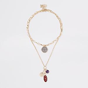 Goldene Halsketten mit Münzanhängern, Set