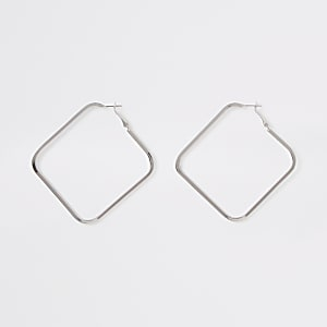 Silver color square hoop earrings
