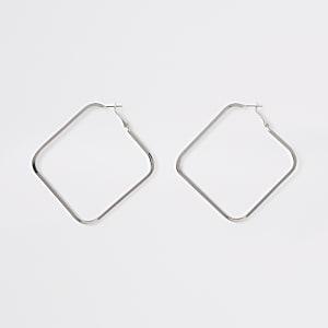 Silver color square hoop earrings
