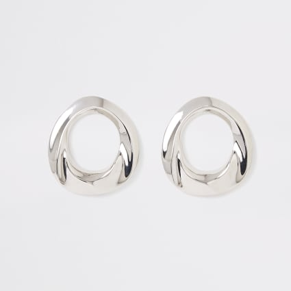 Silver colour ring stud earrings