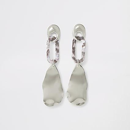 Silver colour resin wavy drop earrings