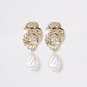 Gold tone pearl drop earrings