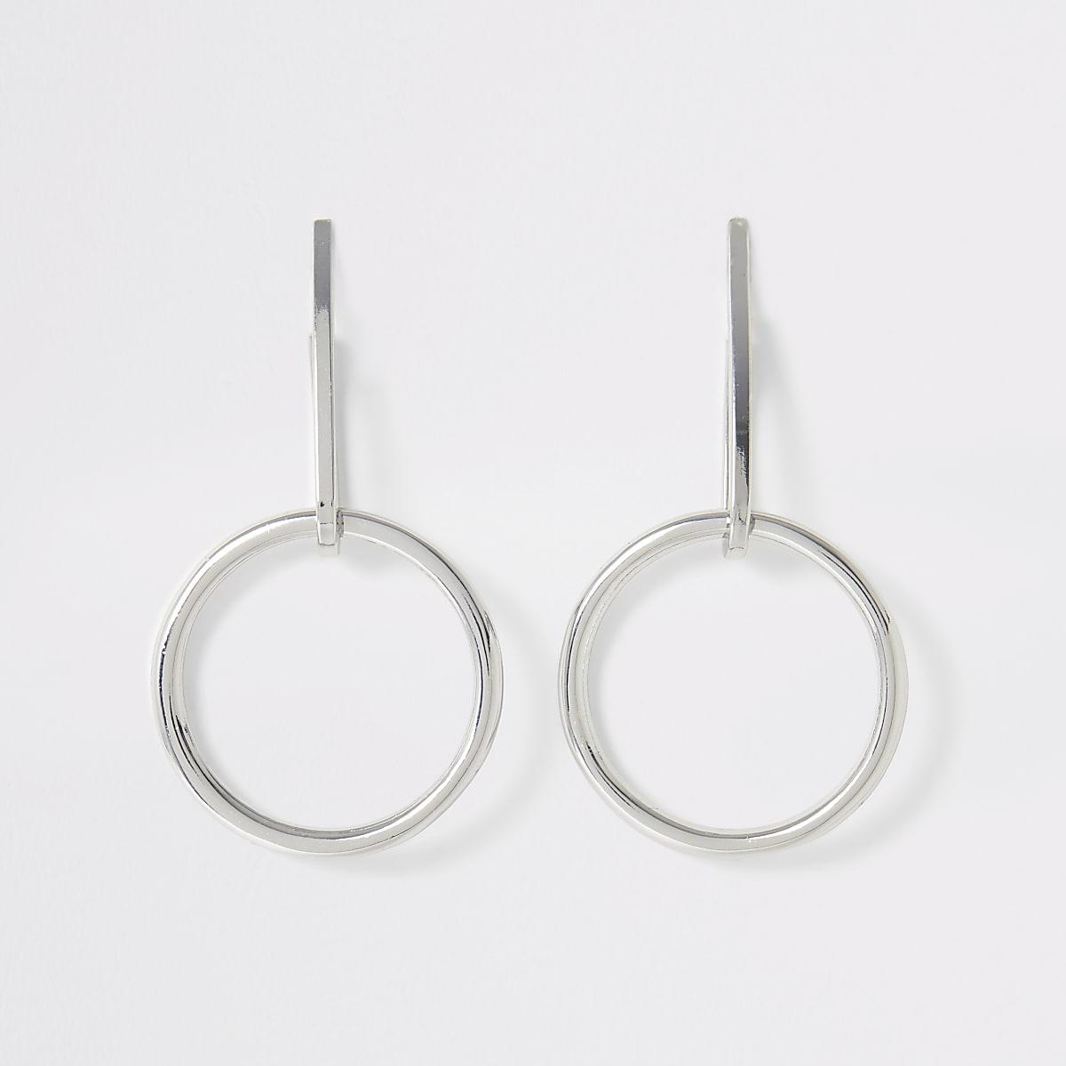 Silver color drop hoop earrings
