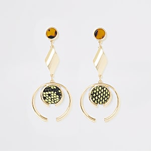 Gold color animal print drop earrings