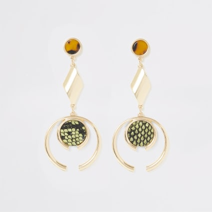 Gold colour animal print drop earrings