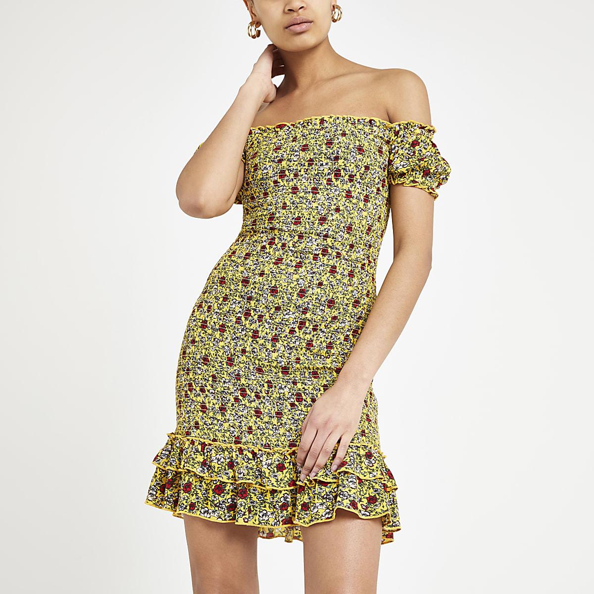 Yellow floral bardot dress
