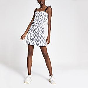 Mini-robe ajustée imprimée blanche plissée