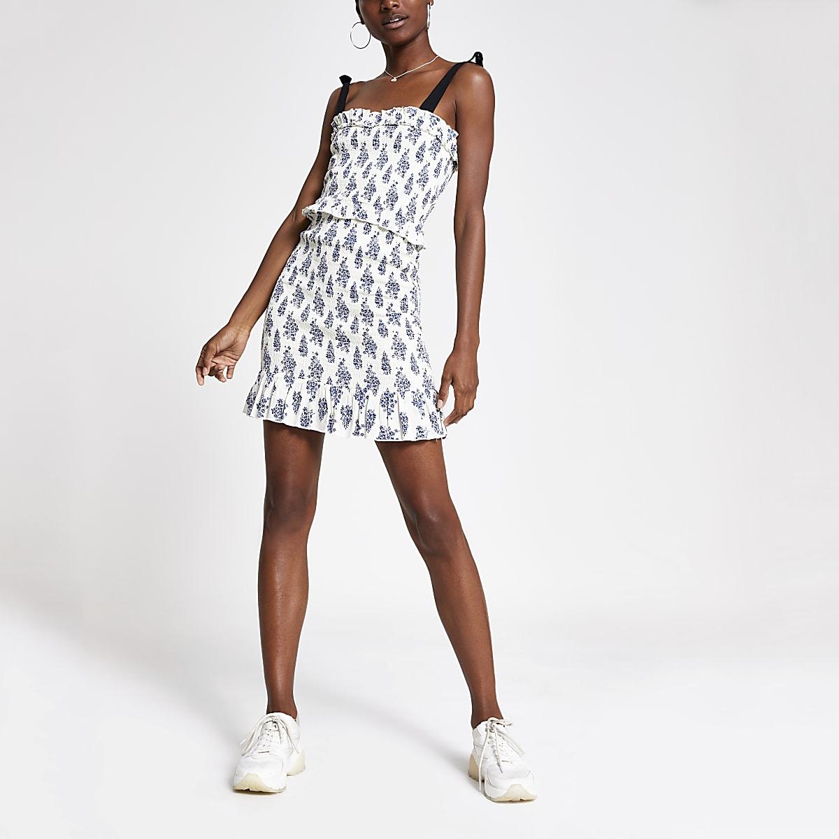 White print shirred bodycon mini dress