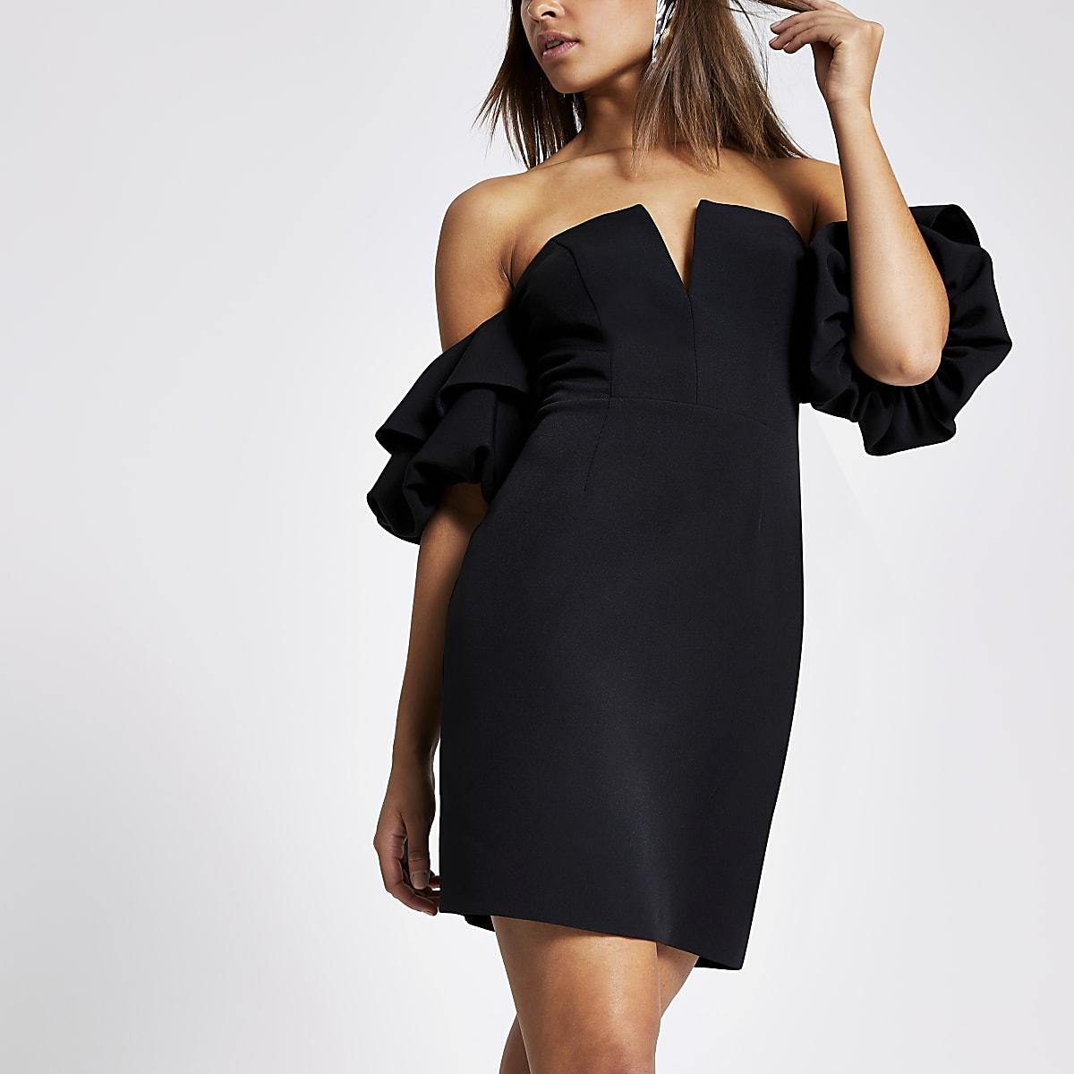 Black ruffle sleeve bodycon dress