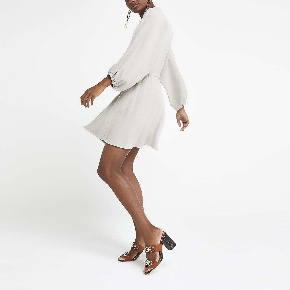 Light grey linen shirt dress