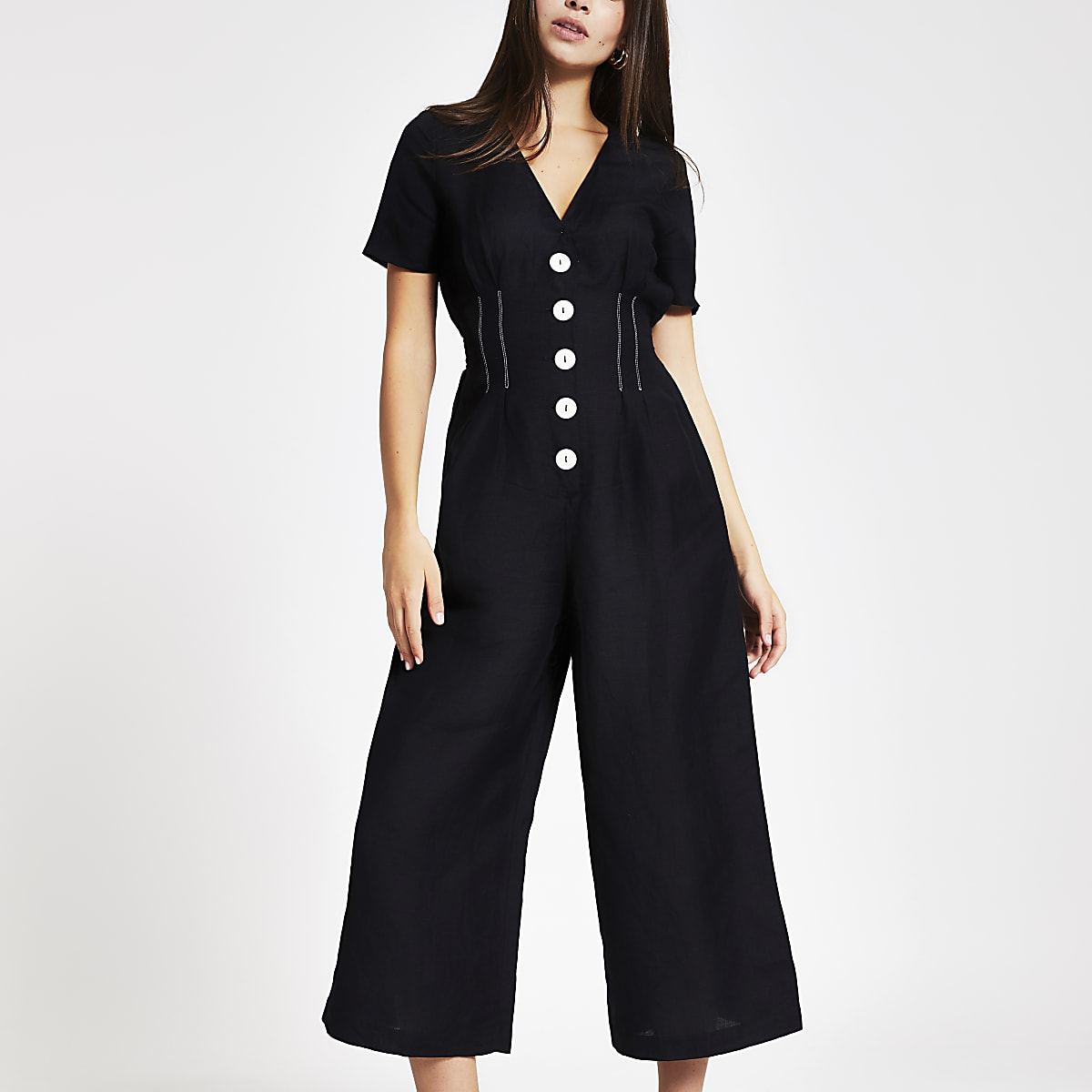 Black button front wide leg jumpsuit