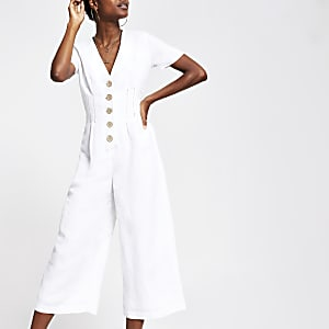 White button front wide leg jumpsuit