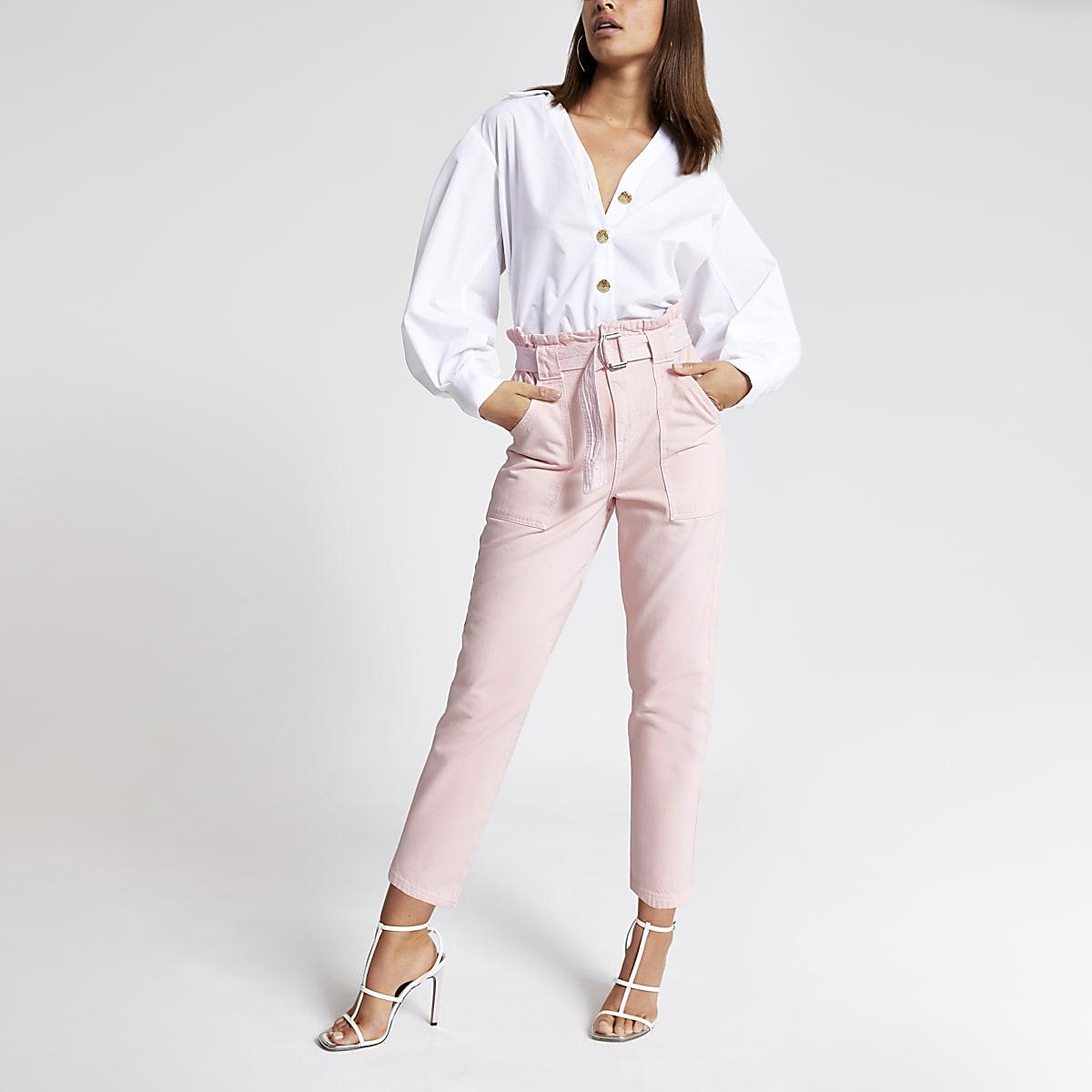 Pink paperbag denim jeans