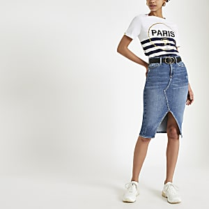 Mid blue denim pencil skirt