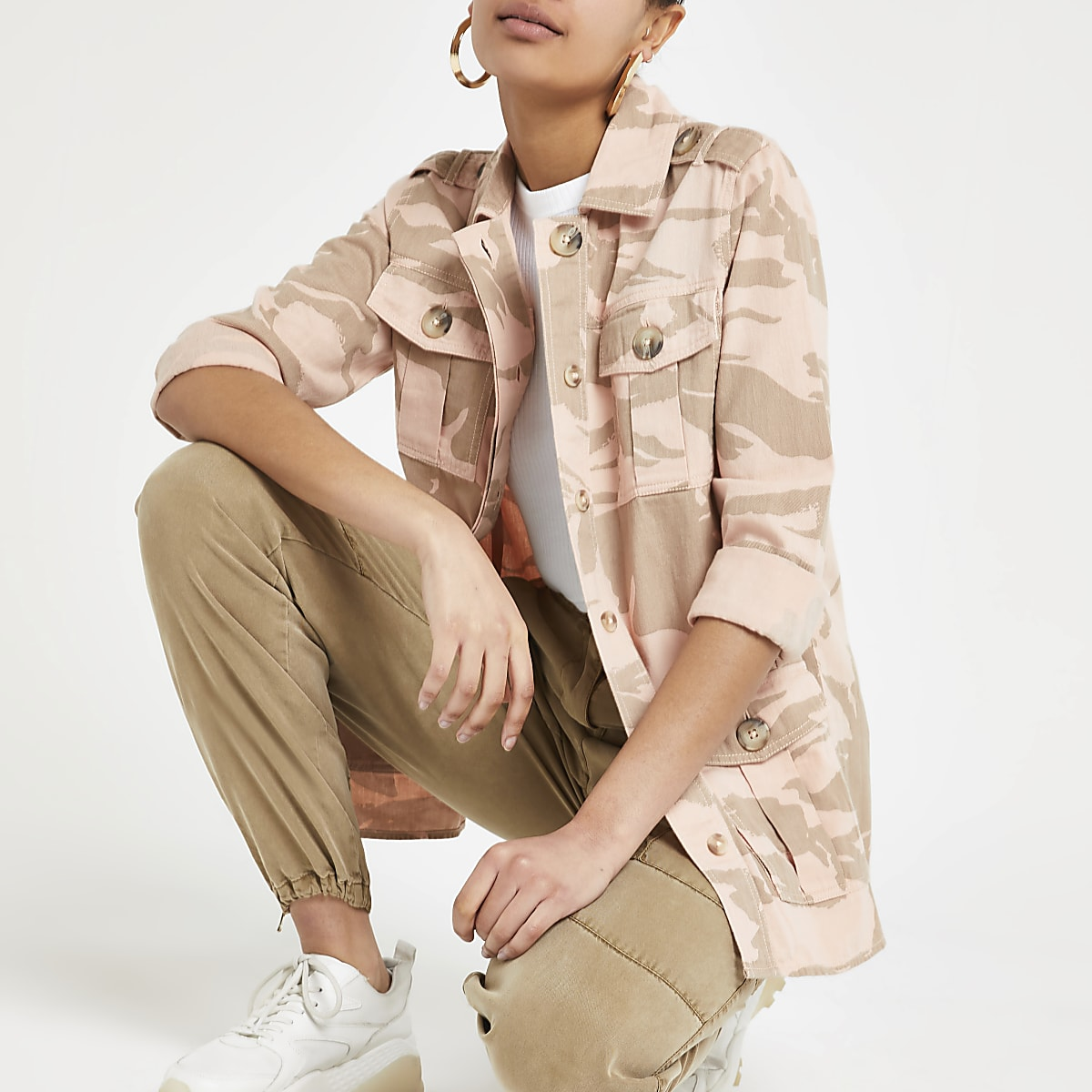 Light pink camo army jacket