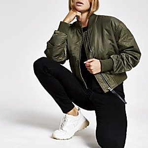 Khaki crop bomber jacket