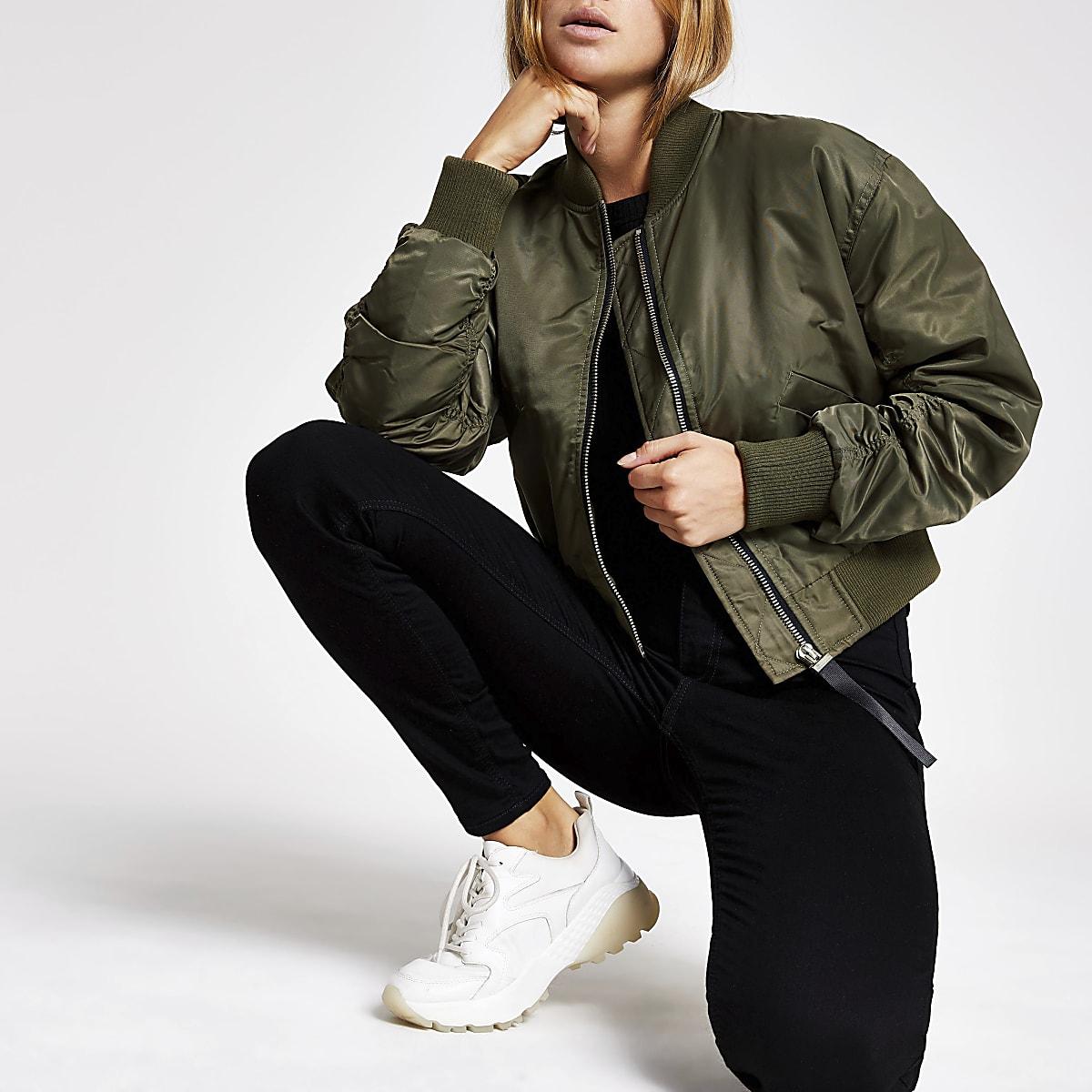 Khaki crop bomber jacket