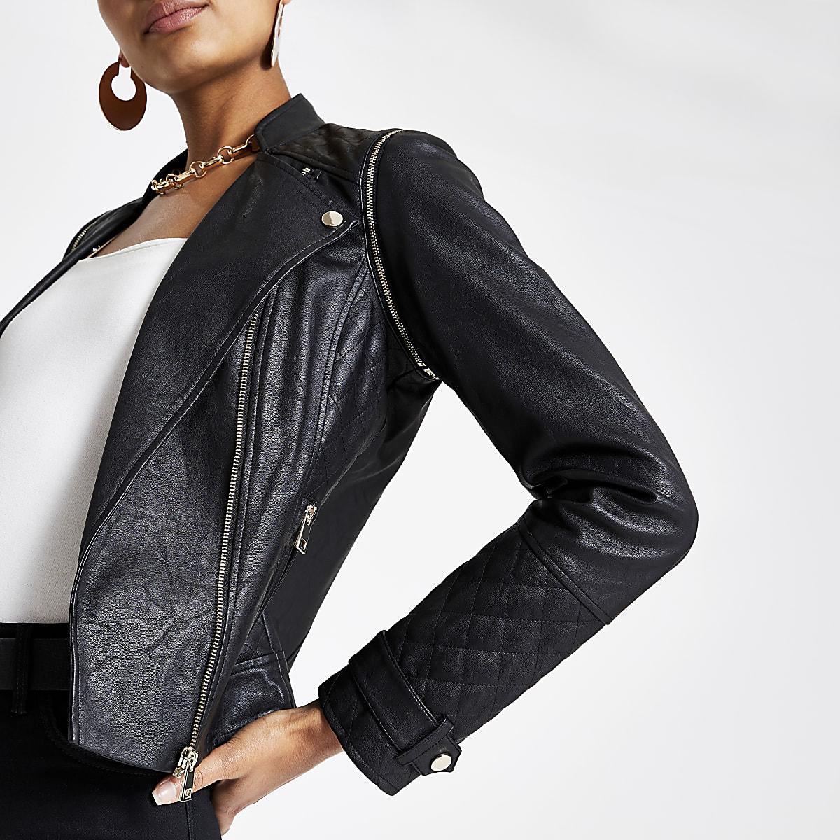 Perfecto ajusté imitation cuir noir