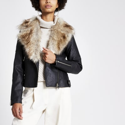 Black quilted faux fur fitted biker jacket