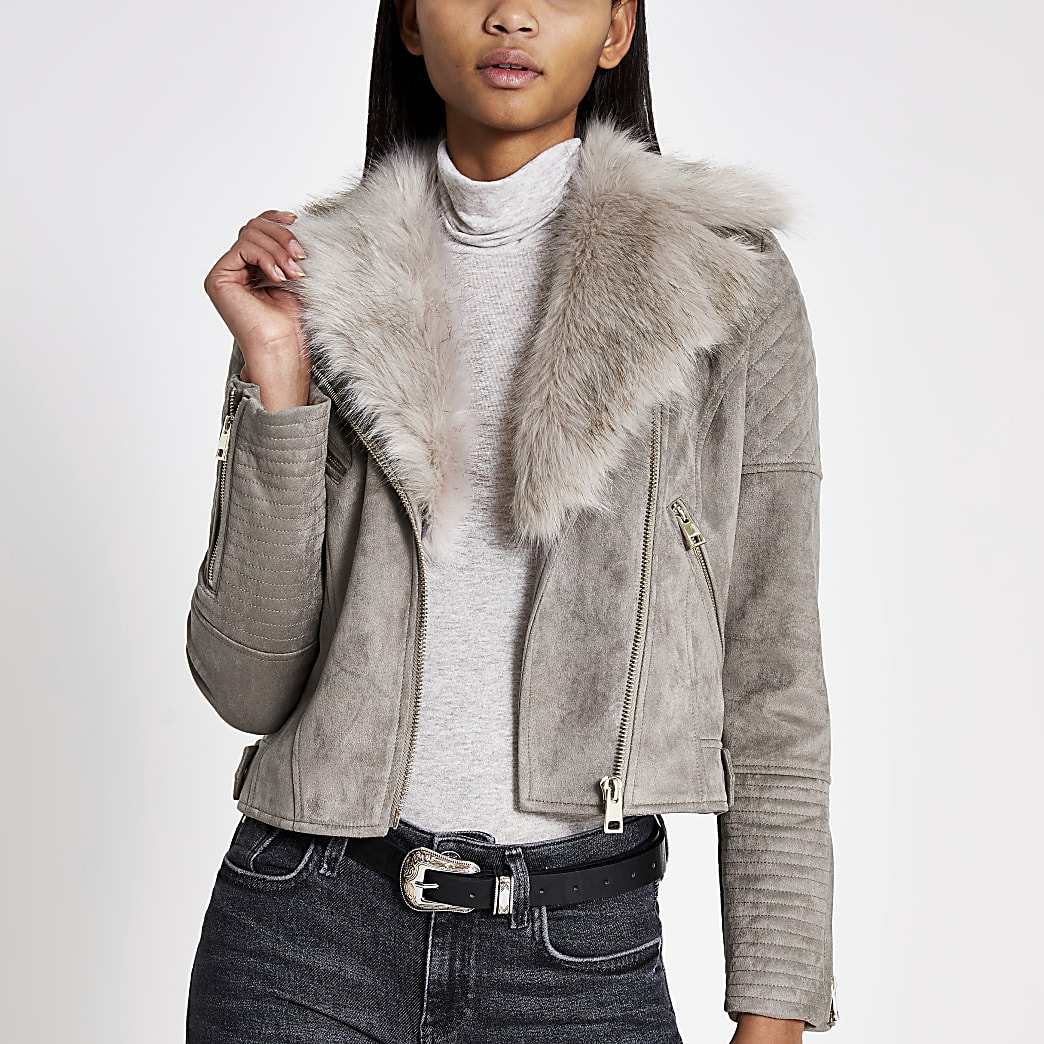 Grey faux fur collar suede biker jacket