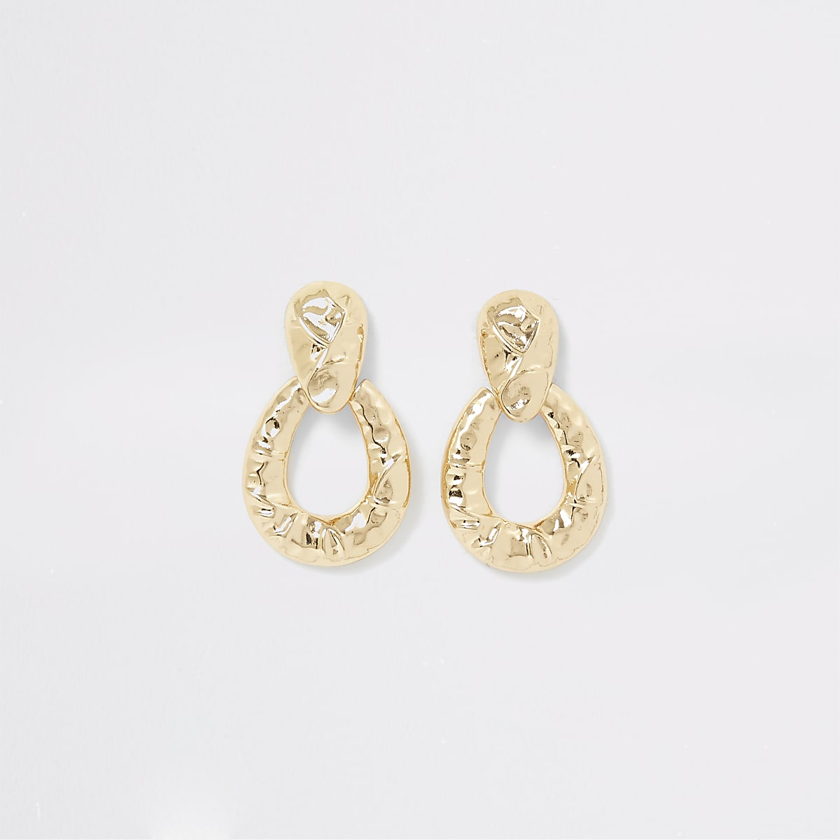 Gold colour battered door knocker earrings