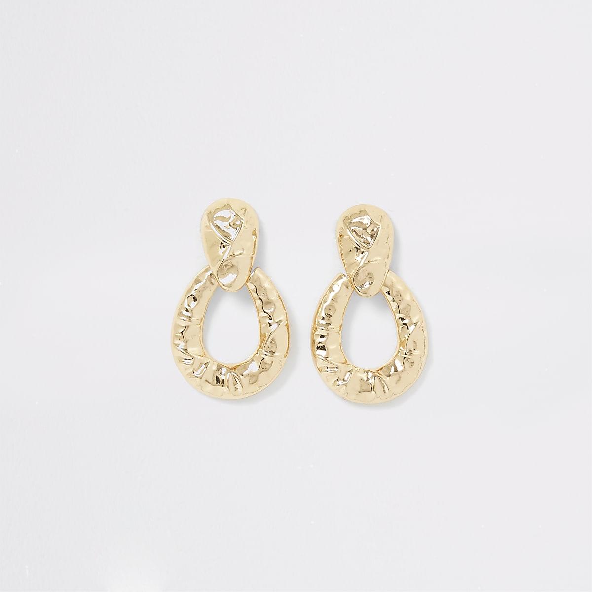 Gold color battered door knocker earrings