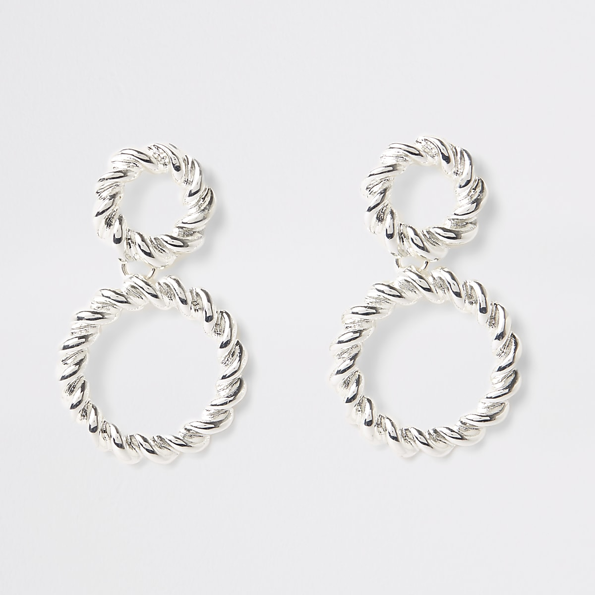Silver colour twist hoop drop earrings